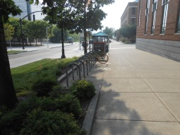 Bike parking and bus stop in front of FCOB
