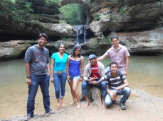 Rohan, Sriveni, Smita, Swapnil, me and Amit (left to right). At Cedar falls. Hocking hills.