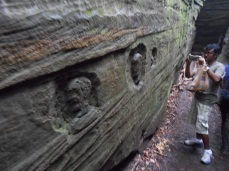 Engravings in a crevice.