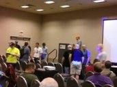 Mark Spencer after his keynote (white shirt)