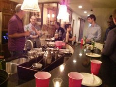 A mentor dinner where startups interact with potential mentors and investors.